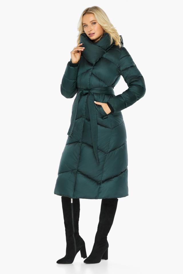 """Изумрудная куртка женская элегантная модель 47260 Braggart """"Angel's Fluff"""" фото 4"""