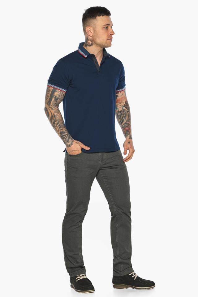 Трендовая мужская синяя футболка поло модель 5720 Braggart фото 4