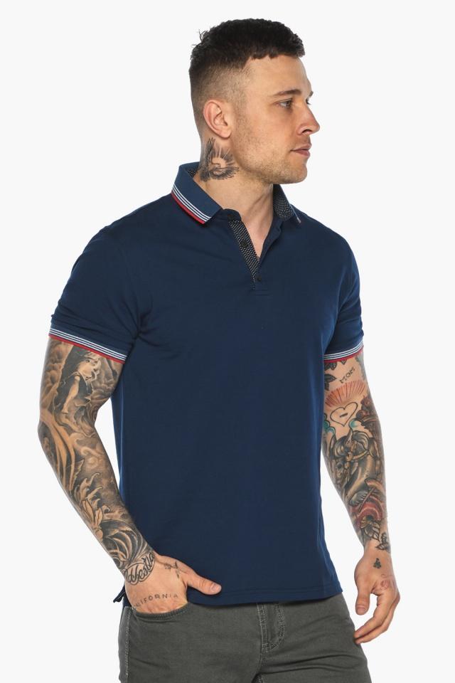 Трендовая мужская синяя футболка поло модель 5720 Braggart фото 3