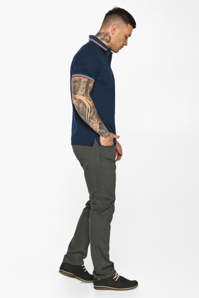 Трендовая мужская синяя футболка поло модель 5720 Braggart фото 6