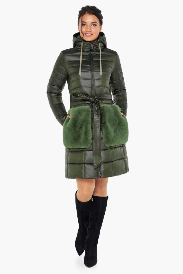 """Куртка женская оригинальная цвет темный хаки модель 31845 Braggart """"Angel's Fluff"""" фото 3"""