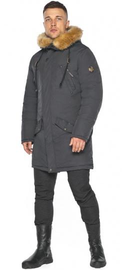 """Парка – воздуховик графитовый мужской зимний комфортный модель 30618 Braggart """"Angel's Fluff Man"""" фото 1"""