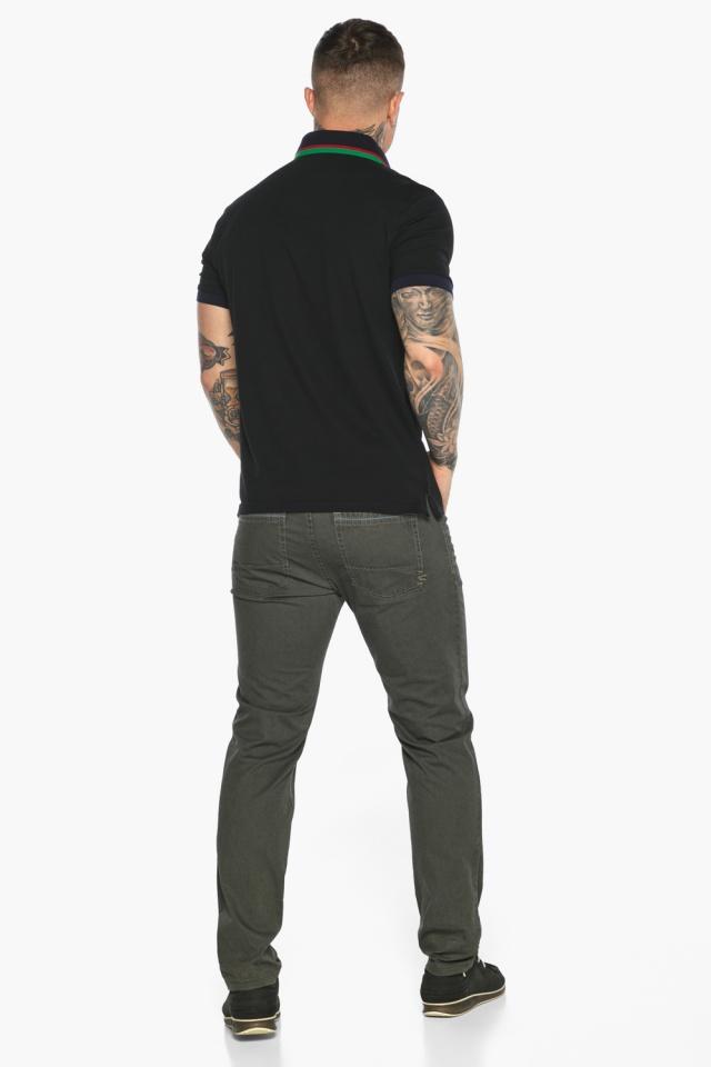 Чёрная брендовая футболка поло мужская модель 5641 Braggart фото 8