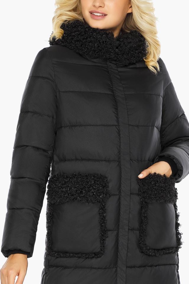 """Женская куртка оригинальная чёрная модель 47575  Braggart """"Angel's Fluff"""" фото 9"""