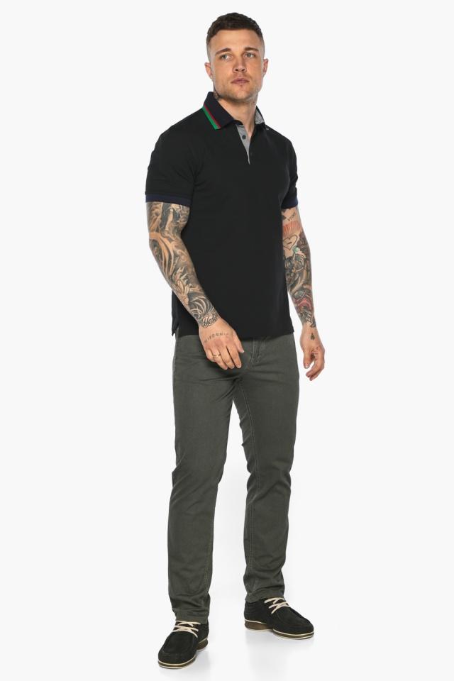 Чёрная брендовая футболка поло мужская модель 5641 Braggart фото 7