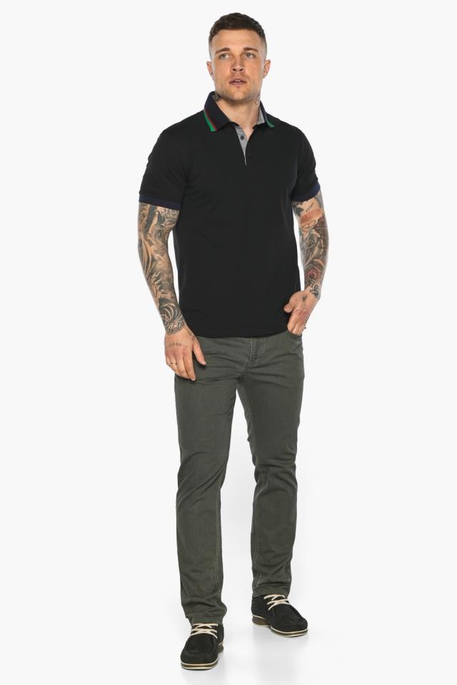 Чёрная брендовая футболка поло мужская модель 5641 Braggart фото 6