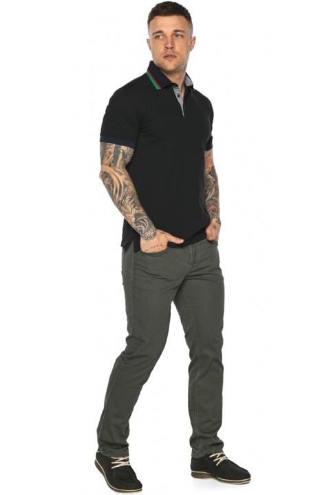 Чёрная брендовая футболка поло мужская модель 5641 Braggart фото 1