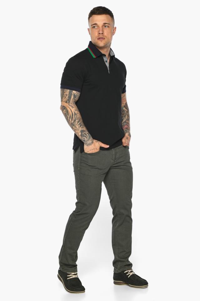 Чёрная брендовая футболка поло мужская модель 5641 Braggart фото 2