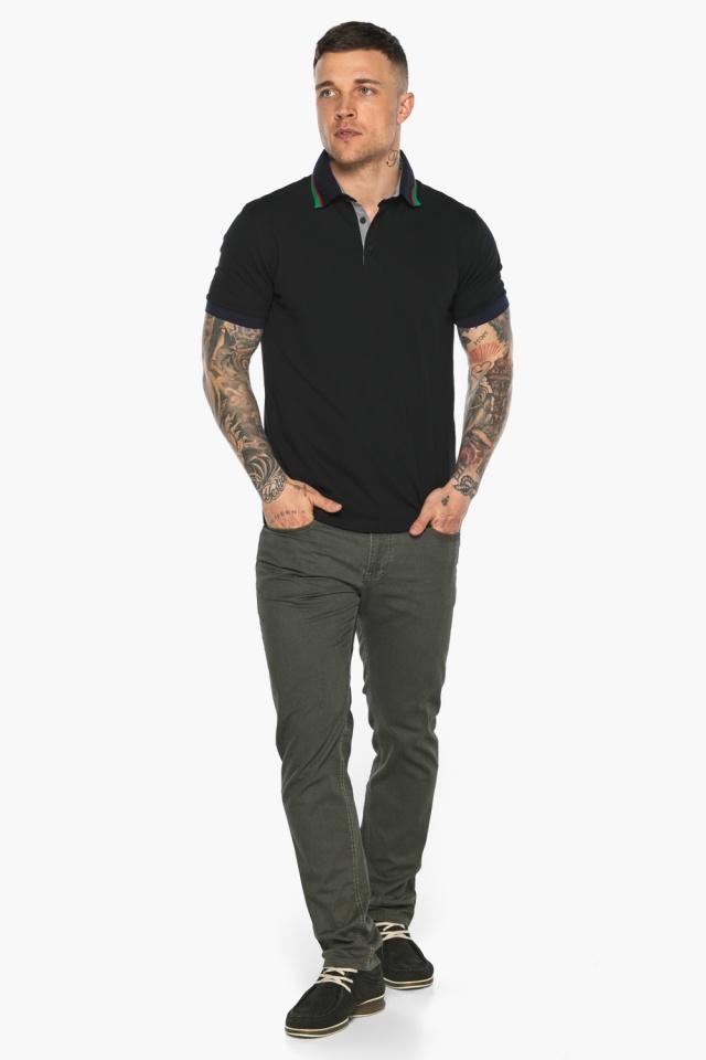 Чёрная брендовая футболка поло мужская модель 5641 Braggart фото 5