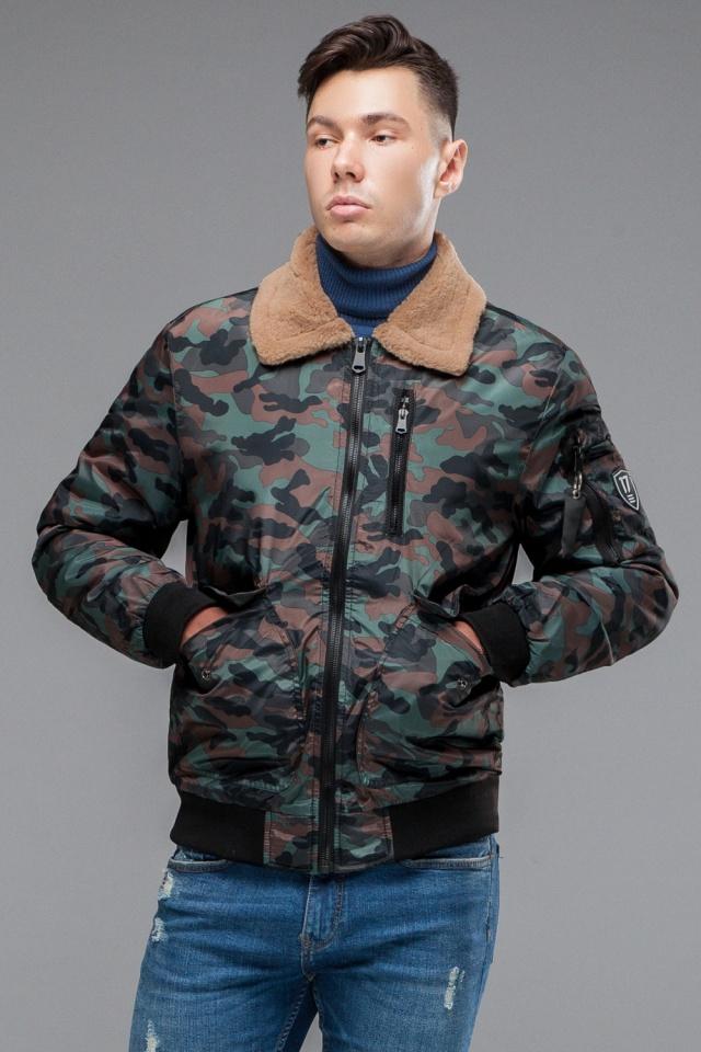"""Бомбер осенне-весенний молодежный мужской цвета хаки модель 38666 Braggart """"Youth"""" фото 3"""