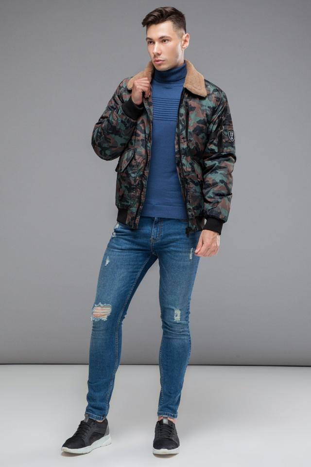 """Бомбер осенне-весенний молодежный мужской цвета хаки модель 38666 Braggart """"Youth"""" фото 2"""