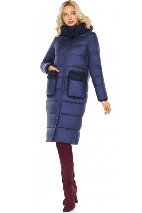"""Куртка жіноча довга колір синій оксамит модель 47575 Braggart """"Angel's Fluff"""" фото 1"""