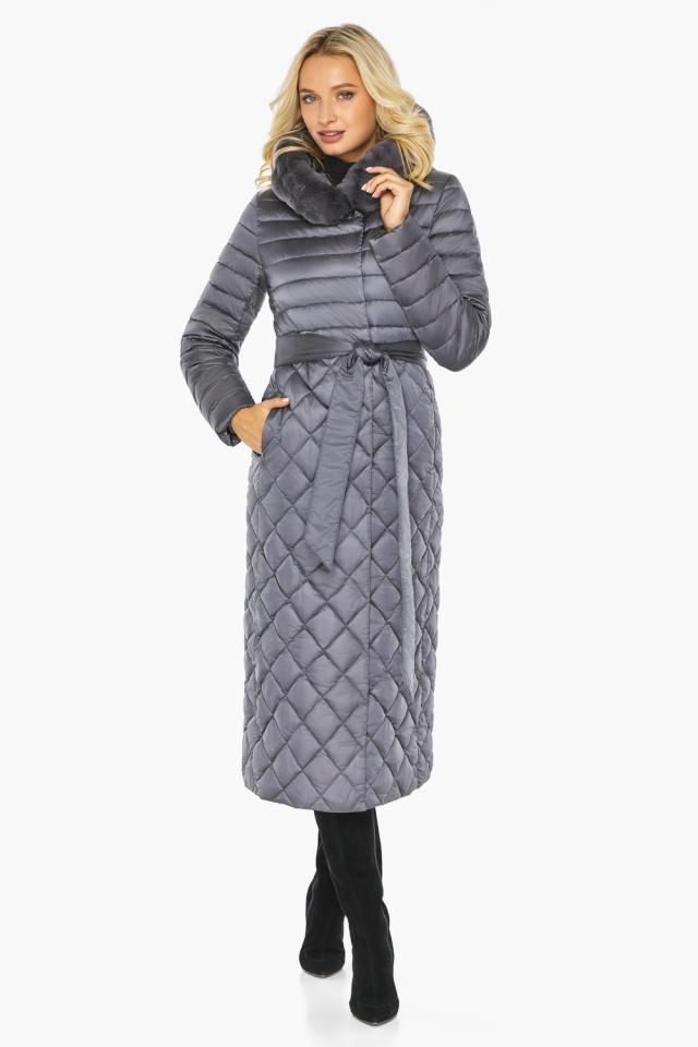 """Жемчужно-серая куртка женская длинная зимняя модель 31012 Braggart """"Angel's Fluff"""" фото 6"""