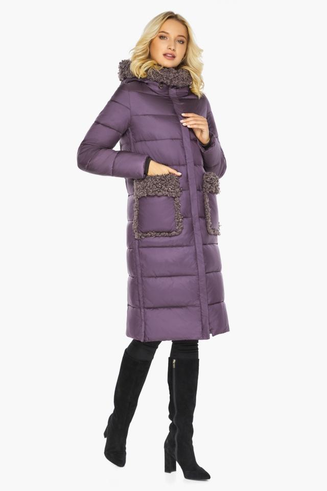 """Баклажановая куртка с брендовой фурнитурой женская модель 47575 Braggart """"Angel's Fluff"""" фото 7"""