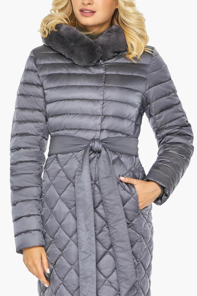"""Жемчужно-серая куртка женская длинная зимняя модель 31012 Braggart """"Angel's Fluff"""" фото 10"""