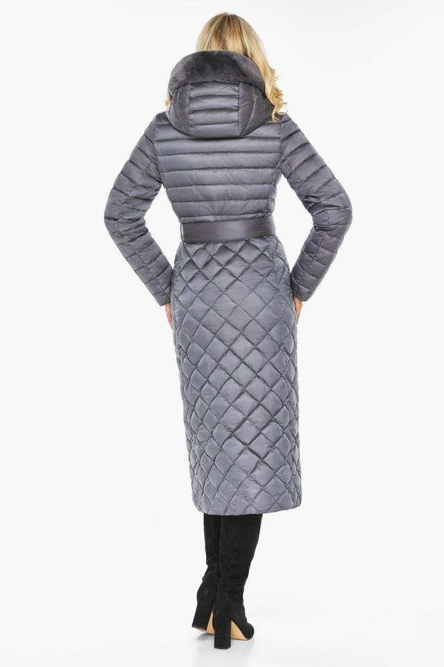 """Жемчужно-серая куртка женская длинная зимняя модель 31012 Braggart """"Angel's Fluff"""" фото 9"""