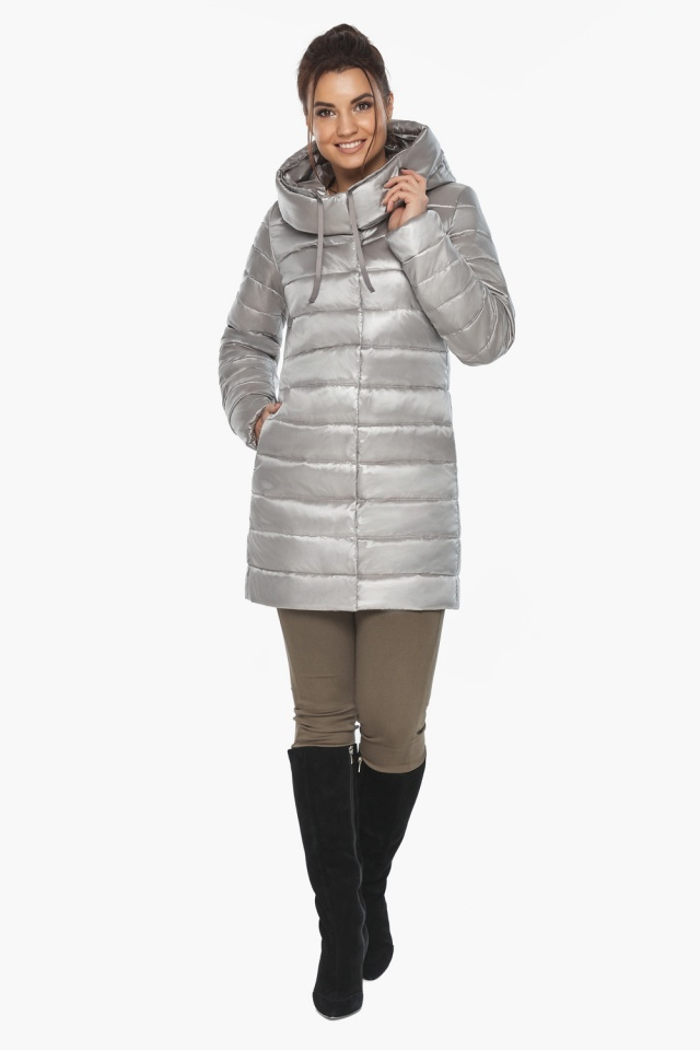 """Куртка фирменная женская цвет перламутровый светло-серый модель 65085 Braggart """"Angel's Fluff"""" фото 2"""