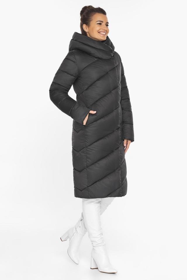 Женская черная куртка зимняя с карманами модель 30952
