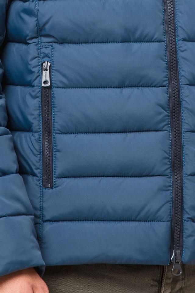 Темно-бирюзовая мужская куртка с карманами модель 40962