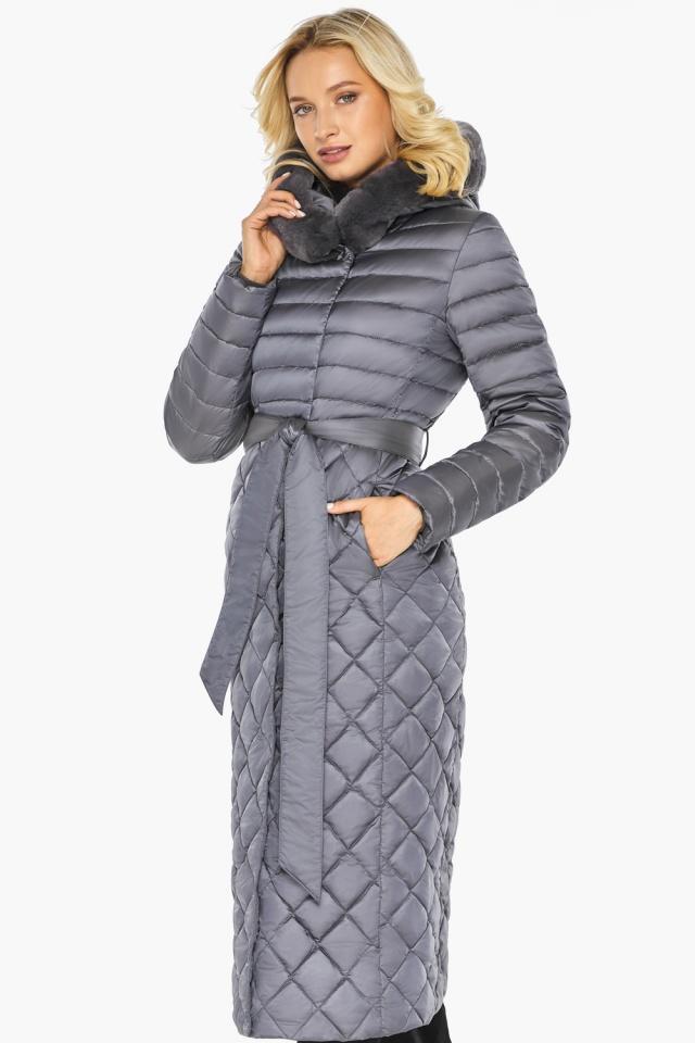 """Жемчужно-серая куртка женская длинная зимняя модель 31012 Braggart """"Angel's Fluff"""" фото 3"""