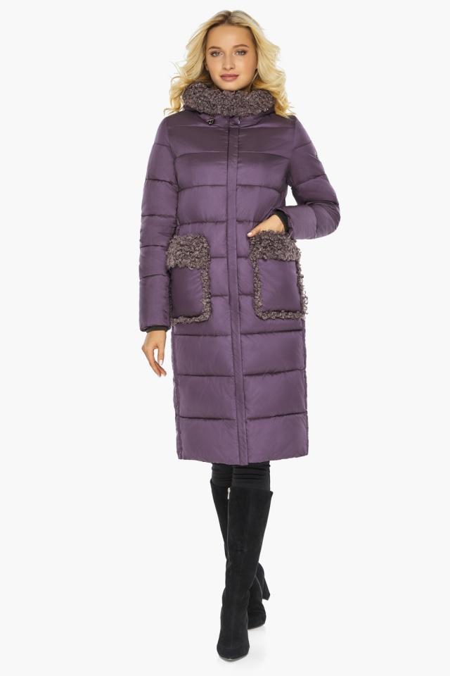 """Баклажановая куртка с брендовой фурнитурой женская модель 47575 Braggart """"Angel's Fluff"""" фото 2"""