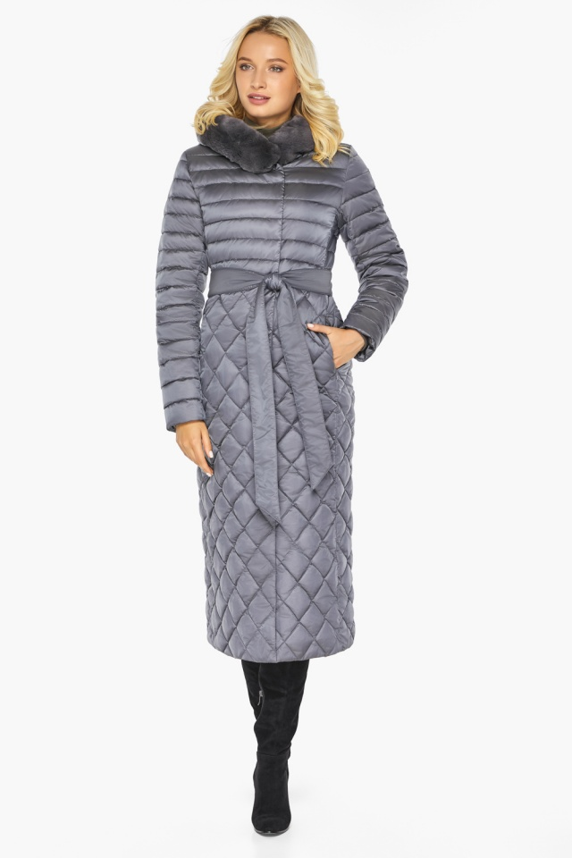 """Жемчужно-серая куртка женская длинная зимняя модель 31012 Braggart """"Angel's Fluff"""" фото 4"""