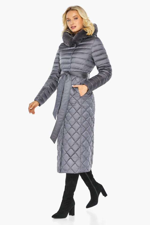"""Жемчужно-серая куртка женская длинная зимняя модель 31012 Braggart """"Angel's Fluff"""" фото 8"""