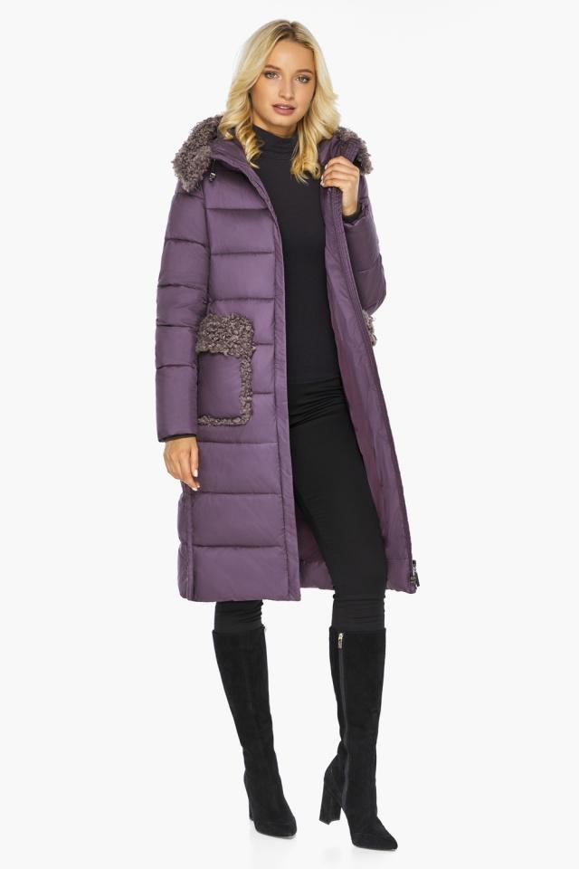 """Баклажановая куртка с брендовой фурнитурой женская модель 47575 Braggart """"Angel's Fluff"""" фото 3"""