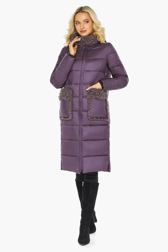 """Баклажановая куртка с брендовой фурнитурой женская модель 47575 Braggart """"Angel's Fluff"""" фото 6"""