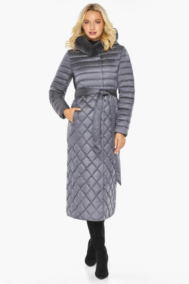 """Жемчужно-серая куртка женская длинная зимняя модель 31012 Braggart """"Angel's Fluff"""" фото 2"""