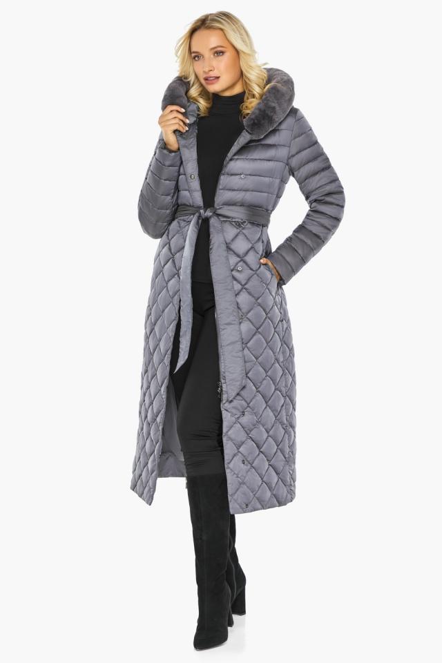 """Жемчужно-серая куртка женская длинная зимняя модель 31012 Braggart """"Angel's Fluff"""" фото 7"""