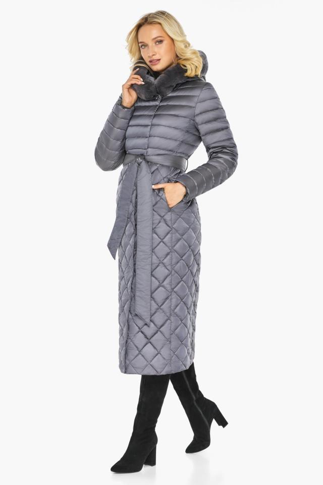"""Жемчужно-серая куртка женская длинная зимняя модель 31012 Braggart """"Angel's Fluff"""" фото 5"""