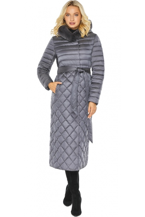 """Жемчужно-серая куртка женская длинная зимняя модель 31012 Braggart """"Angel's Fluff"""" фото 1"""