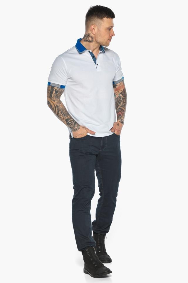 Мужская удобная белая футболка поло модель 5216 Braggart фото 2