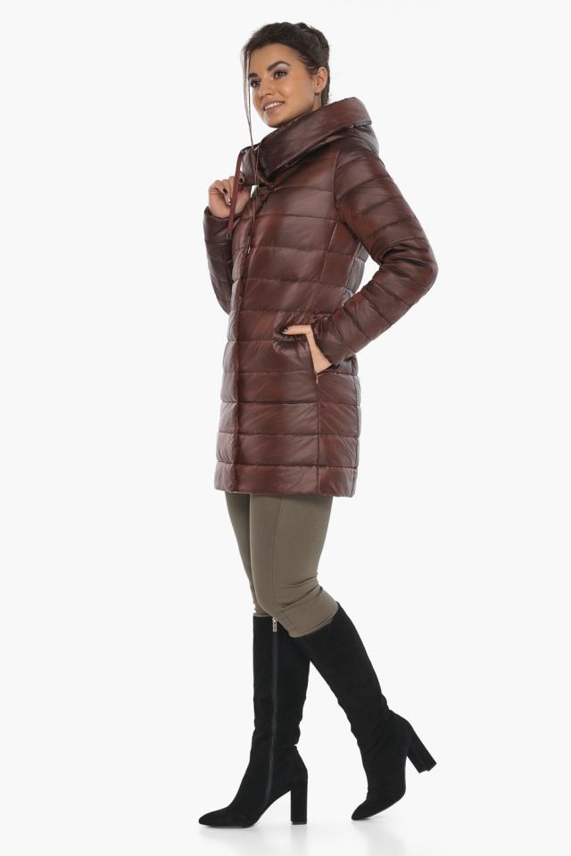 """Каштановая женская куртка с карманами модель 65085 Braggart """"Angel's Fluff"""" фото 3"""
