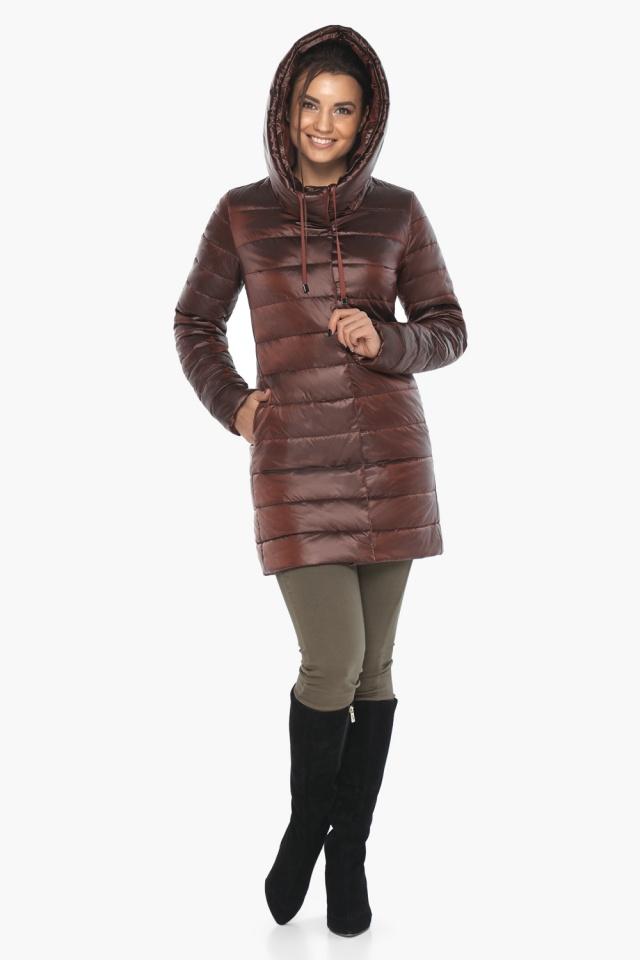 """Каштановая женская куртка с карманами модель 65085 Braggart """"Angel's Fluff"""" фото 4"""