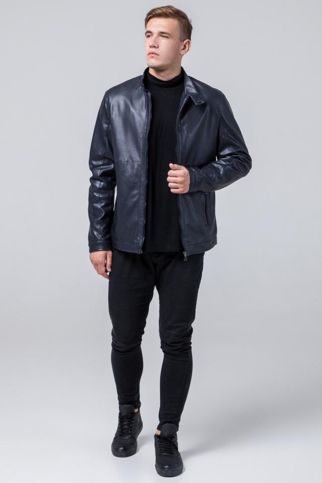 """Брендовая кожаная куртка мужская тёмно-синяя модель 2193 Braggart """"Youth"""" фото 2"""