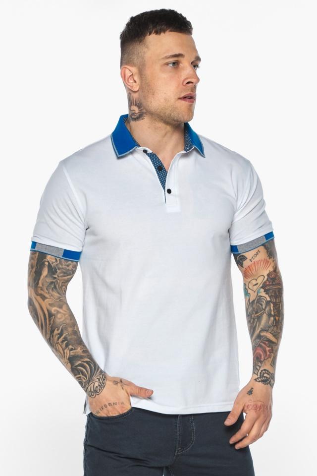 Мужская удобная белая футболка поло модель 5216 Braggart фото 3