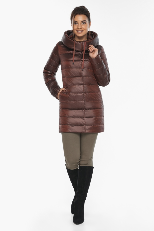 """Каштановая женская куртка с карманами модель 65085 Braggart """"Angel's Fluff"""" фото 2"""