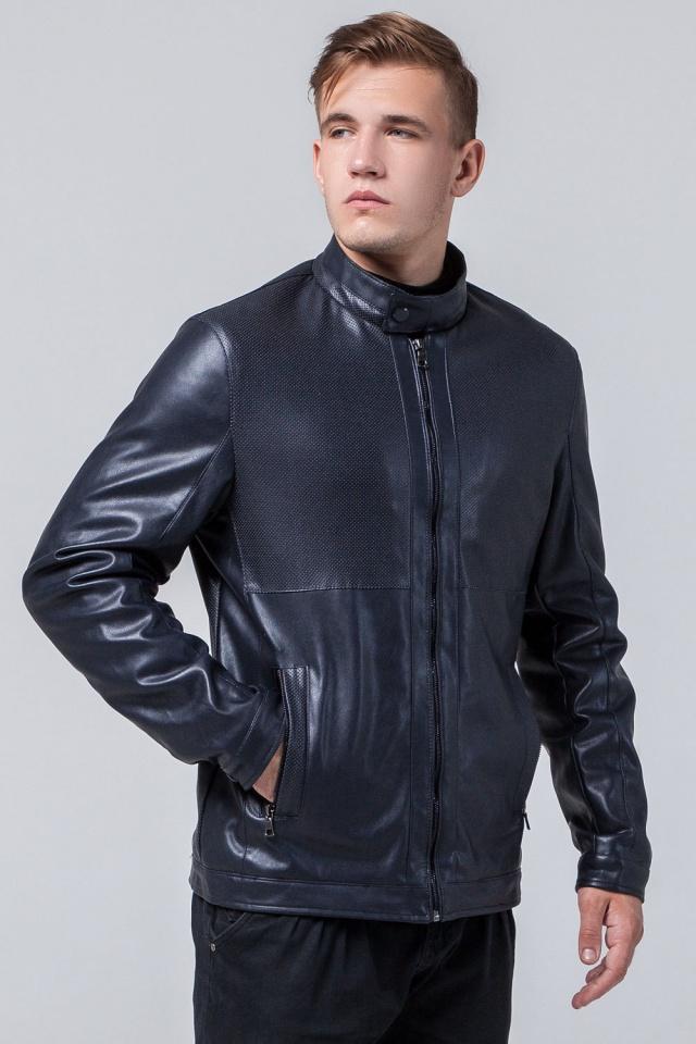 """Брендовая кожаная куртка мужская тёмно-синяя модель 2193 Braggart """"Youth"""" фото 3"""