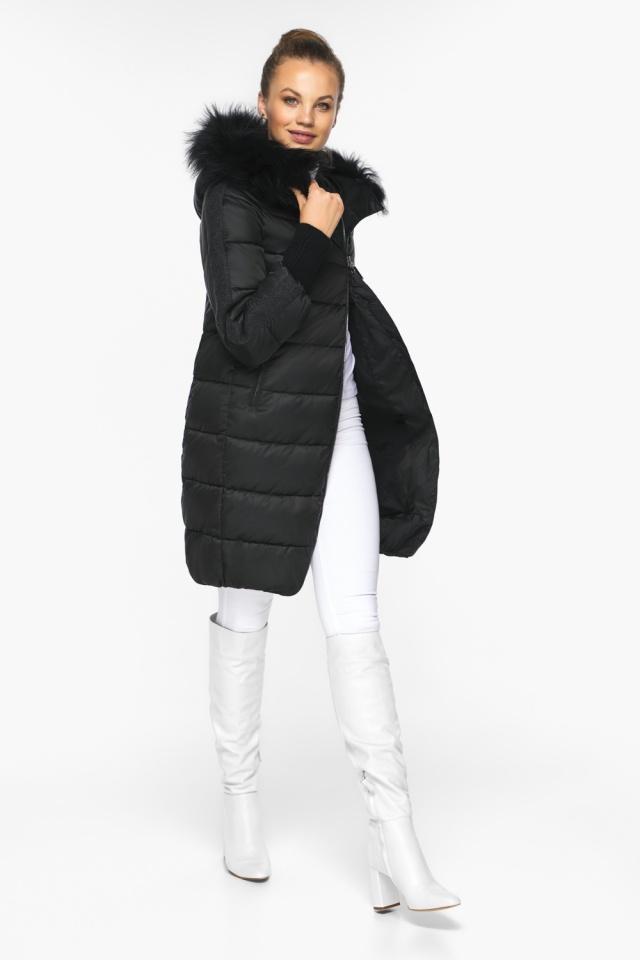 """Куртка женская черная удобного фасона на зиму модель 42150 Braggart """"Angel's Fluff"""" фото 3"""