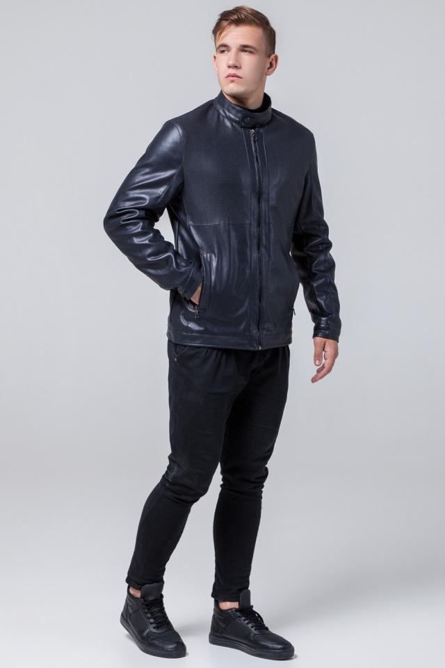 """Брендовая кожаная куртка мужская тёмно-синяя модель 2193 Braggart """"Youth"""" фото 4"""