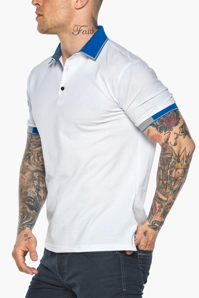 Мужская удобная белая футболка поло модель 5216 Braggart фото 9