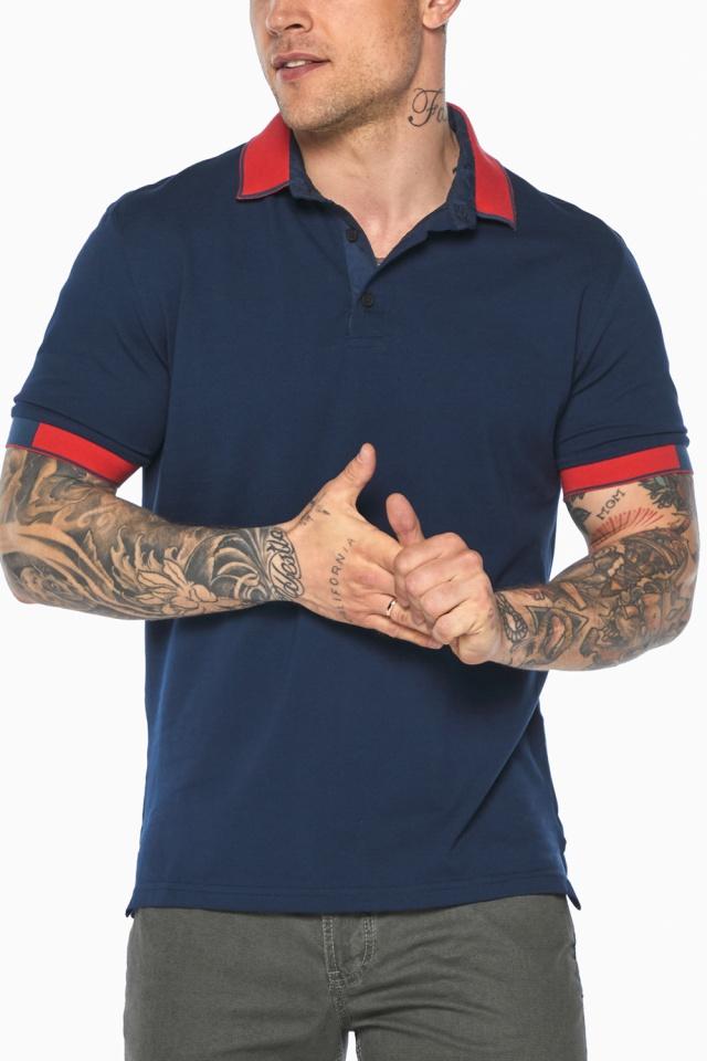 Стильная футболка поло мужская синяя модель 5815 Braggart фото 9
