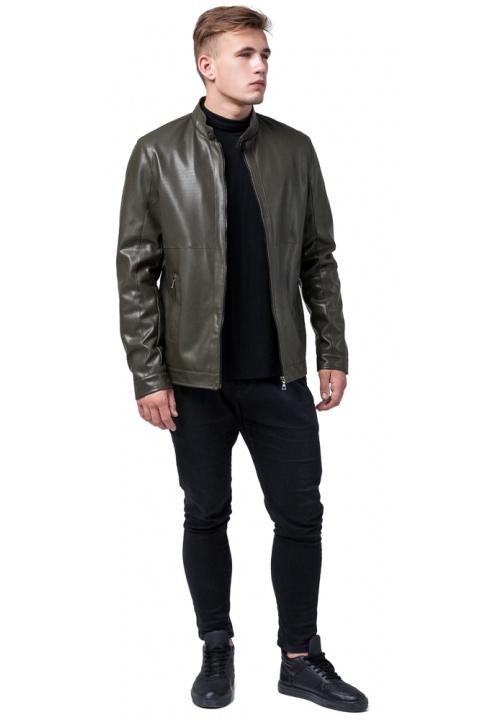 "Короткая мужская кожаная куртка цвет хаки модель 2193 Braggart ""Youth"" фото 1"
