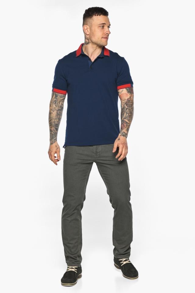 Стильная футболка поло мужская синяя модель 5815 Braggart фото 6