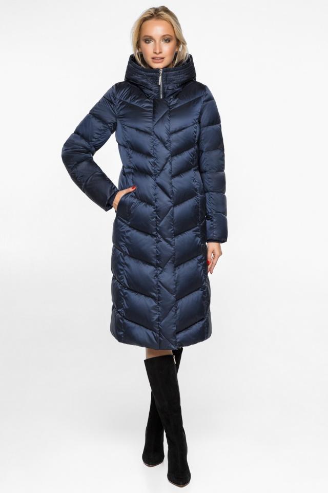 Женская зимняя куртка цвет синий бархат модель 31024
