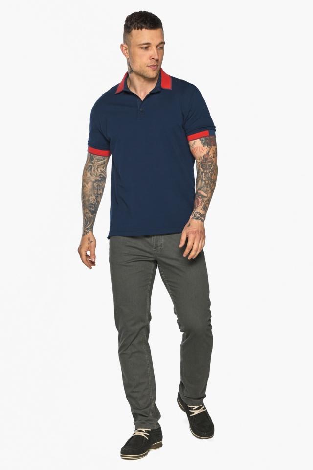 Стильная футболка поло мужская синяя модель 5815 Braggart фото 2