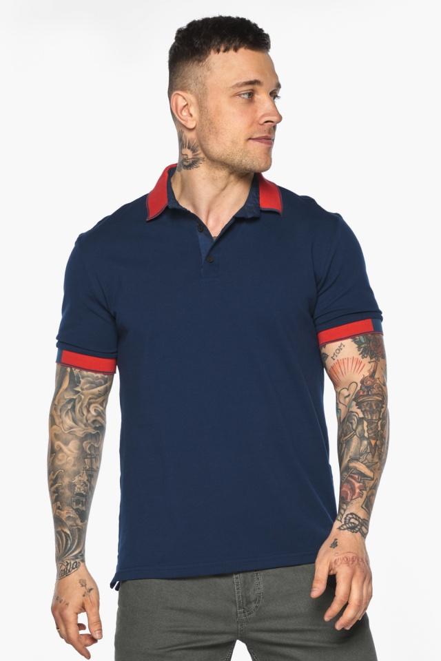 Стильная футболка поло мужская синяя модель 5815 Braggart фото 4