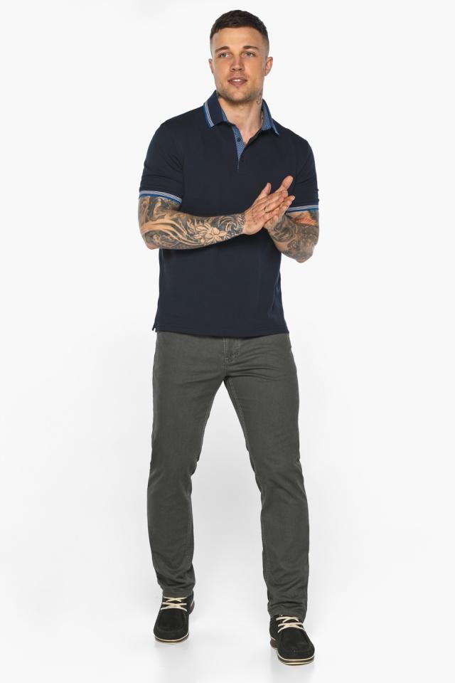 Комфортная мужская тёмно-синяя футболка поло модель 5836 Braggart фото 4